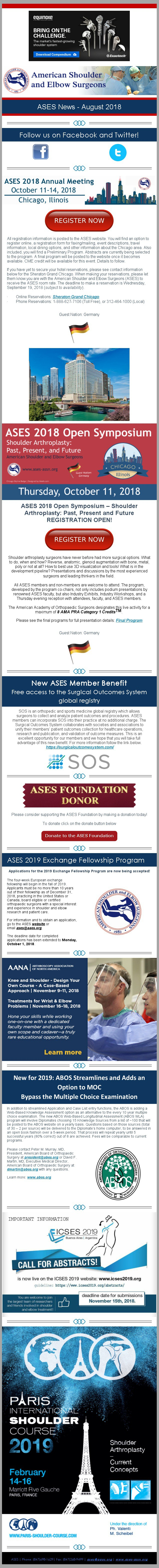 ASES News – August 2018
